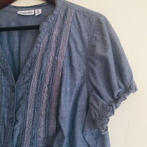 St. John's Bay • Chambray Button Down Blouse
